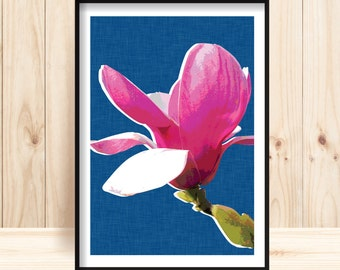 Magnolia Flower Prints, Magnolia Downloadable Wall Art, Botanical Printable, Pink Magnolia, Botanical Decor, Magnolia Art, Flower Wall Art