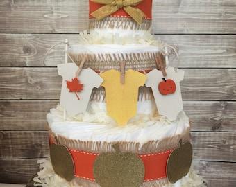 Fall Themed Diaper Cake, Fall Baby Shower Centerpiece, Autumn Pumpkin Baby Shower Decorations