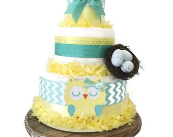Owl Baby Diaper Cake in Mint and Yellow, Owl Baby Shower Centerpiece