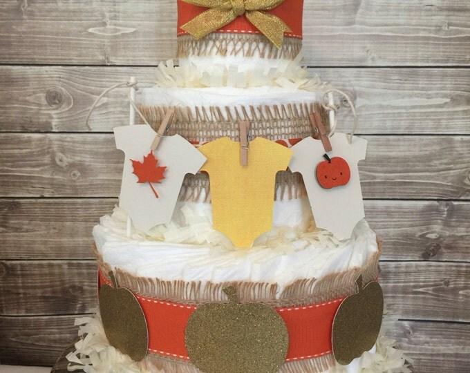 Featured listing image: Little Pumpkin Diaper Cake, Fall Baby Shower Centerpiece, Autumn Pumpkin Baby Shower Decorations