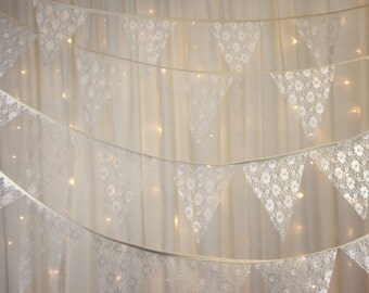 Elegant vintage style lace bunting for a Downton twist to weddings, parties, baby showers, barn events
