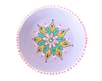 Hand Painted Trinket Dish, Painted Clay Ring Dish, Purple Trinket Dish, Mandala Trinket Dish, Painted Flower Dish - CALM