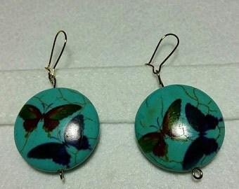 butterfly earrings turquoise blue earrings bead earrings boho bohemian hippie yoga feminine romantic girl gift groovy earrings