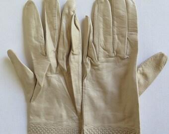 Vintage leather gloves/Italian/Cream