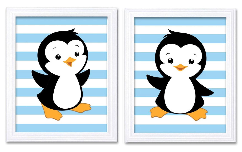 Penguin Nursery Art Prints Set of 2 Baby Blue Boys Art Nursery Print Boy Wall Decor Stripes
