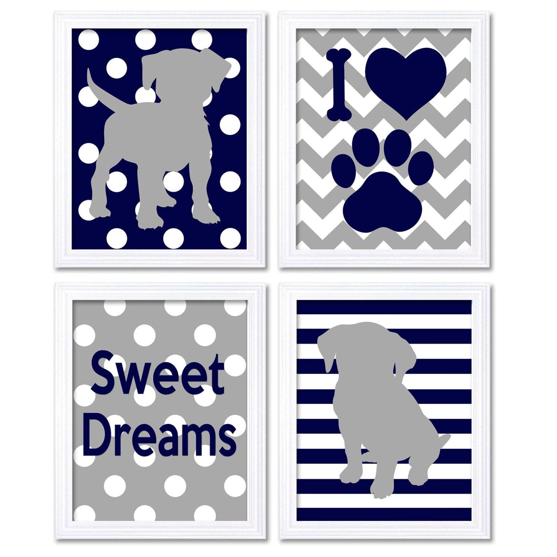 Navy Blue Grey Puppy Dog Nursery Art Set of 4 Prints Stripes Chevron Sweet Dreams Child Kids Wall Ar