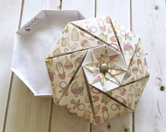 Hand-Folded Origami Gender Neutral New Little Baby Themed Baby Shower Gift Box