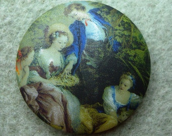Czech Glass Button 36mm - picture transfer - vintage picture (B36085)
