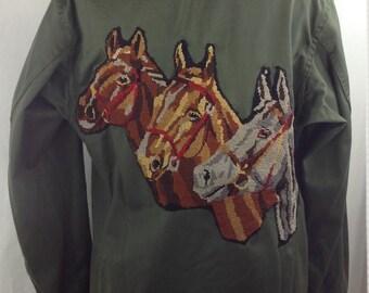 """Custom military jacket canvas """"Three horses"""""""