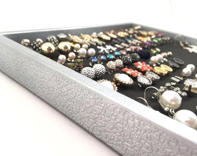Silver Jewelry Tray - Silver Frame - Earring Organizer