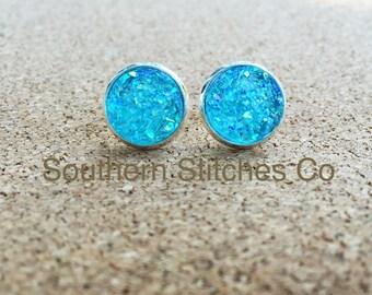 SALE Ice Blue Earrings Druzy Stud Earrings 12MM Boho Jewelry Bridesmaids Gifts