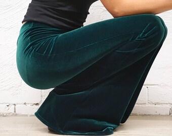 Velvet Bell Bottoms - Velvet Pants - Velvet Festival Flares - Forrest Green Flare Pants