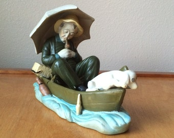 Mudmen Clay Statue Wesrern Man with Dog in Boat - Chinese Mud Sculpture - Fishing Figurine