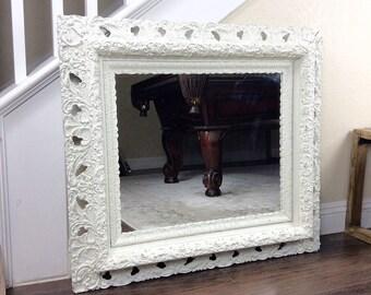 MIRROR, Vintage Mirror, White Mirror, Ornate Wall Mirror, Vanity Mirror, Cottage Chic Decor, Nursery Decor, Wood Framed Mirror
