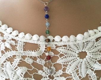 Chakra Necklace/7  Chakra Bead Necklace/ Chakra Bead Necklace/ Reiki Drop Necklace/ Yoga Chakra Necklace/ Rainbow Meditation
