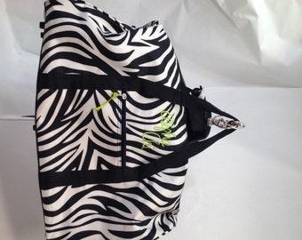 Alpha Chi Omega Zebra Fabric Duffle Bag