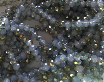 "Electroplate Opal Glass Beads Strands, Half Plated, Faceted, Abacus, Sea Green, 6x4mm, about 100pcs/strand, 18""  #042"