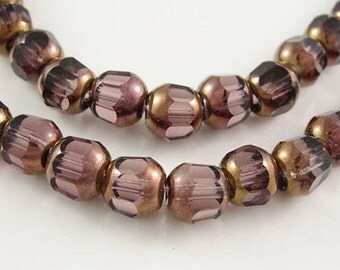 "Red Copper Plated Glass Beads Strand, Faceted Round, Lt.Purple, bead size 8mm, hole: 1mm, 44pcs/strand  13""  #069"