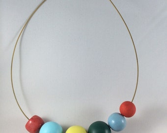 Guitar string wooden beads necklace, hand painted with acrylic paints beads, gemstone beads