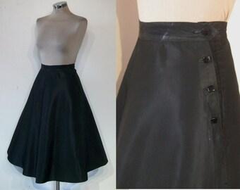 """Darling 1950s full black skirt w/ high buttoned waist placket waist 24"""""""