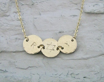 Disc necklace, Initial necklace, Gold Star of David necklace, Gold filled necklace, Jewish jewelry, Bat Mitzvah gift, Magen David necklace,