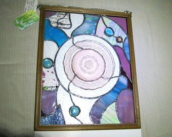 Stained Glass Handcrafted Window Panel / Suncatcher Funky Eclectic Mauve Pink & Teal
