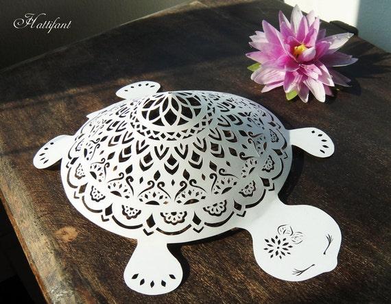 mandala turtles papercut challenge by hattifant on etsy