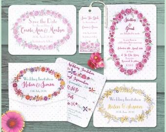 "Floral ""Petals & Polka Dots"" wedding invitation sample"