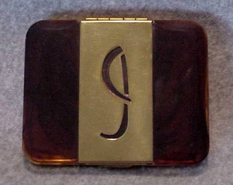 Faux Tortoise Celluloid CIGRETTE CASE from the 1930's with the Initial J on the Front Panel