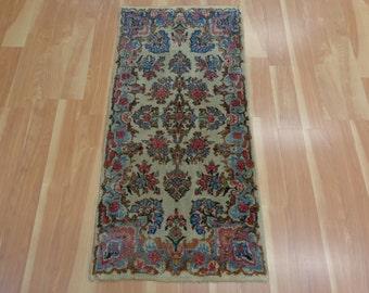 Vintage Persian Rug Cream Beige Kirman Oriental Rug 2' x 4' 1