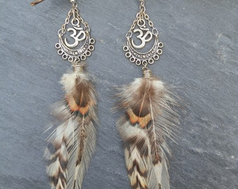 Earring ethnic ॐ feathers natural. Hippie aum