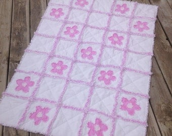 Pink and White Baby Girl Rag Quilt, Crib Quilt, Toddler Quilt, Nursery Blanket, Baptism Blanket 35 X 48.Handmade, Ready to Ship