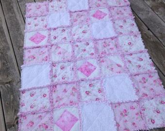 Baby Girl Rag Quilt, Crib Quilt, Toddler, Chenille, Shabby Style, Tanya Whelan,Slipper Roses, 35 X 48. Pink, White, Handmade, Ready to Ship