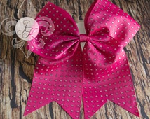 SALE! Shocking Pink Rhinestone Cheer Bow, Cheerleading Bow, Big Bows, Gymnastic Hair Accessories, Large Hair Bow