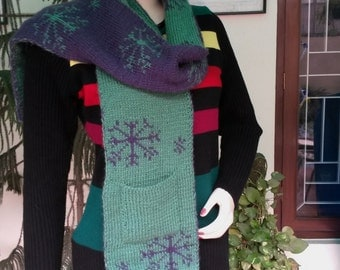 Accessories Winter Accessories scarves warm winter scarf  Knitted Reversible woollen scarf Handmade scarf HandKnitted scarf Christmas gift