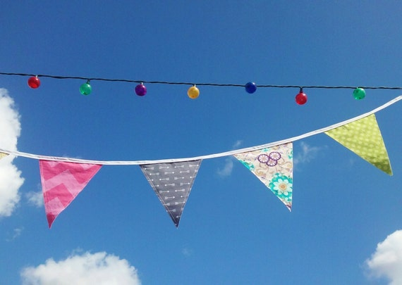 Fabric Party Bunting - Custom Long Banner - Garland - Festive Flags - Party decorations - Wall Hanging - Reusable Party Decor - Birthdays