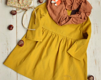 Mustard Girls Dress, Corduroy, Bottom Frill, Long Sleeve