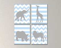 Baby Boy Nursery Art.  Baby Boy Safari Art Prints. Suits Blue and Gray Nursery Decor -N48,49,50,51