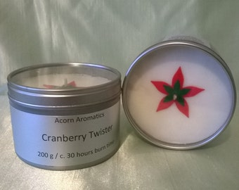 Cranberry Twister Soy Wax Candle Tin
