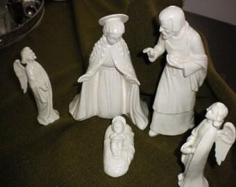 1960's Hummel Nativity in White Porcelain