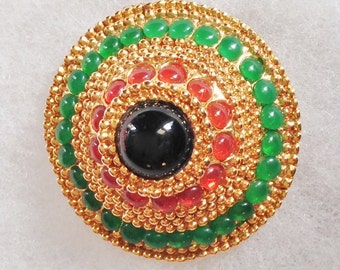 Dramatic Red & Green Cabochon on Gold Domed Pin Brooch