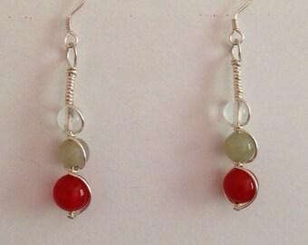 Water drop tri color gem stone earrings