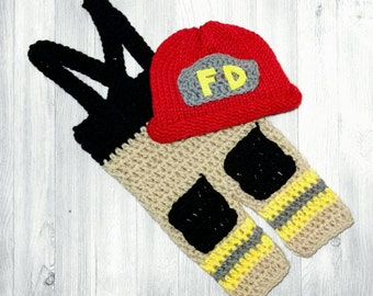 Baby Boy Firefighter Outfit Crochet Fireman Outfit - Full Set Same Price!!!