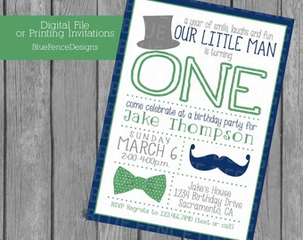 boy birthday party invitation, first birthday, little gentleman, top hat, bow tie, mustache, gray, navy, green,  little man, template, baby