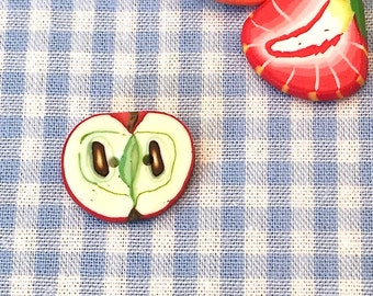 Polymer clay button Apple