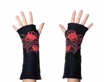 Black mittens with red lace flowers - elegant fingerless gloves with flower pattern, felt wrist warmers, stylish merino wool mitts [M1]