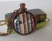For the Booklover -- Altered Art, Glass Pendant