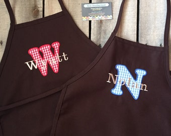Monogrammed kids childrens apron personalized apron