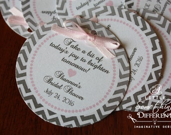 Wedding Favor Tags, Pink and Gray, Chevron, Thank You Tags, Bridal Shower, Lingerie Shower, Gift Tags, Bridal Party