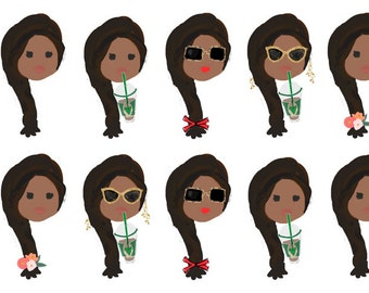 BROWN HAIR GIRL Stickers Planner Stationery